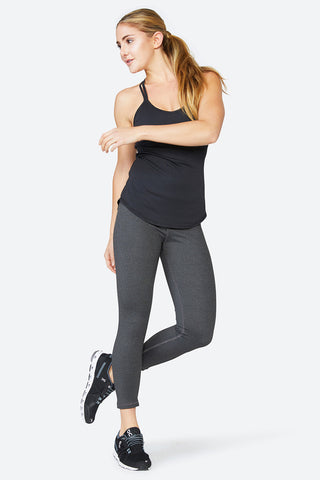 2-in-one top, Bra and Tank, Comfortable, Sweat wicking, Yoga, Spin, Training, Double Up Tank - Jet Black