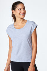 Active lifestyle, comfortable, breathable, flattering, fit, Morgan Tee - Grey Heather