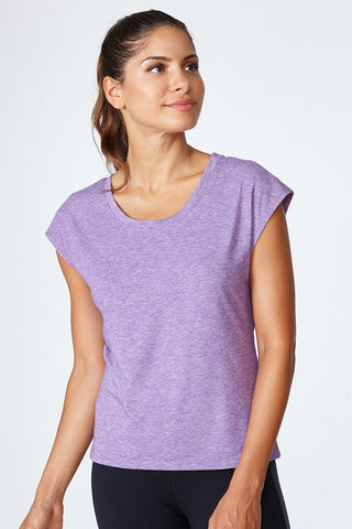 Active lifestyle, comfortable, breathable, flattering, fit, Morgan Tee - Acai Heather