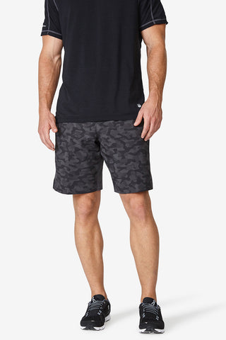 "Classic Woven Short 9"" - Black CamoMen's performance shorts, black, lightweight, sweat wicking, high quality, solfire, skin-like, black camo shorts"