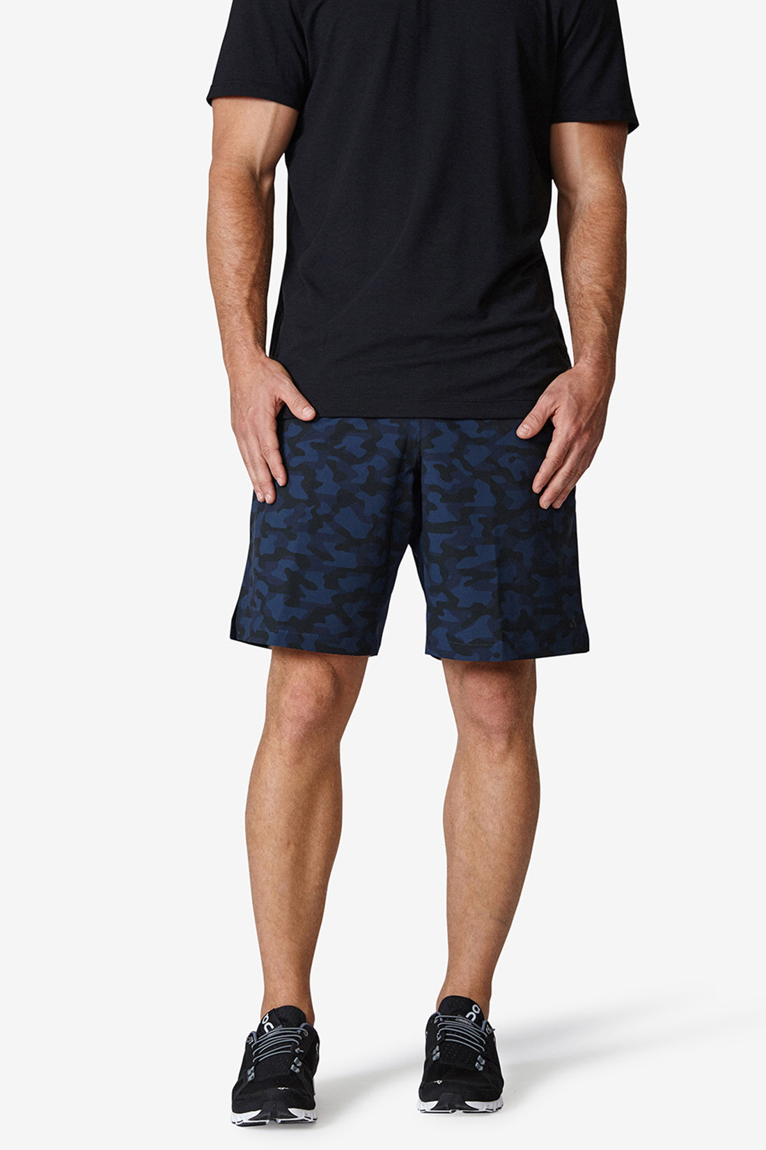 Men's performance shorts, black, lightweight, sweat wicking, high quality, solfire, skin-like, Navy camo shorts