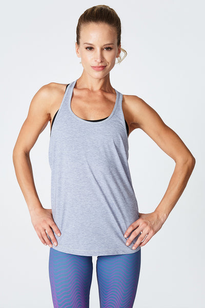 The most comfortable, Sweat wicking, Drying, Lightweight, Tank, Cycle, Spin, Train, Jog, Jessica Racer Back - Grey Heather