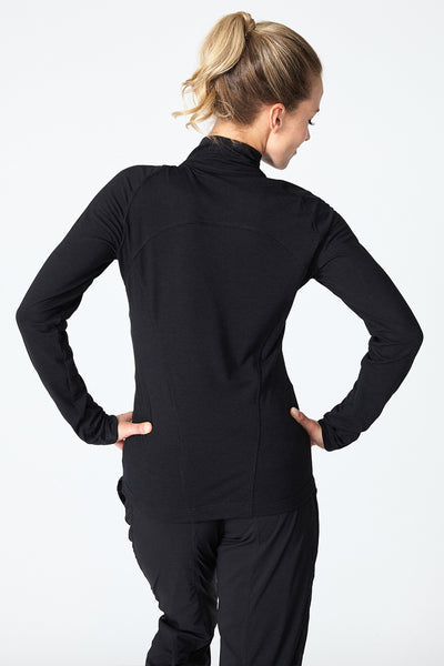 Women's layering piece, lightweight, for running, outdoor, all in all pullover, Jackie 1/4 Zip - Black