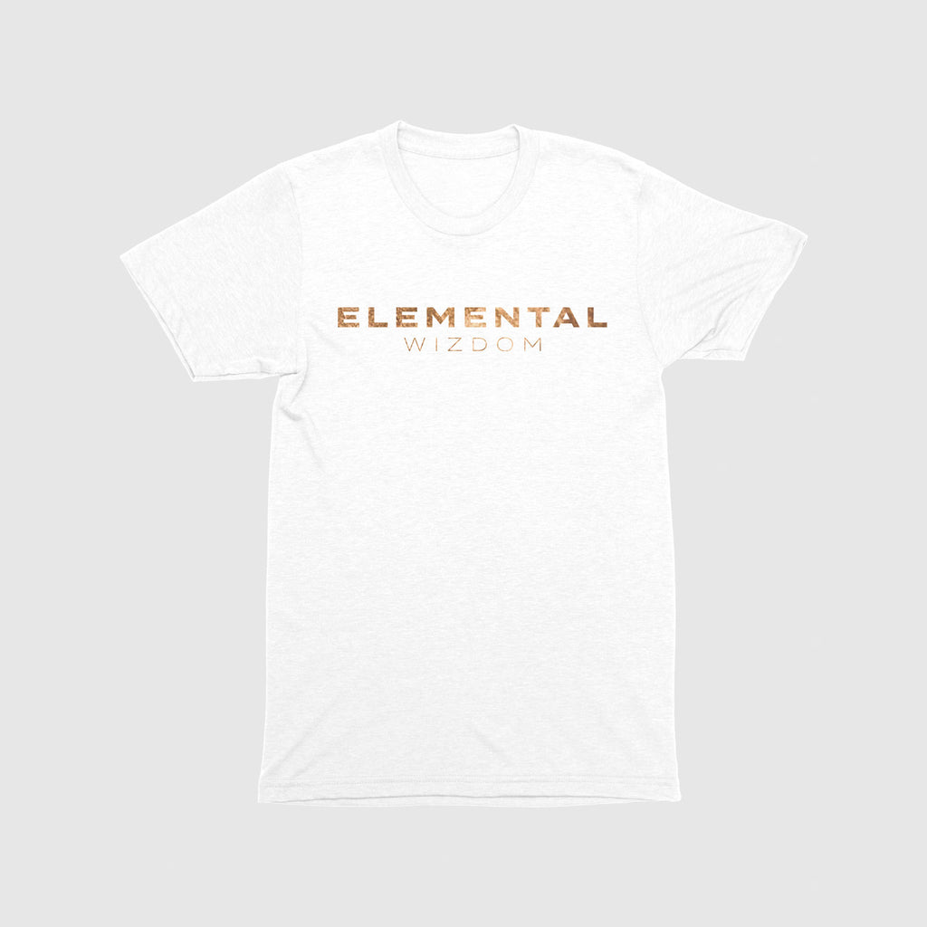 Elemental Wizdom Unisex Kids T-Shirt Front & Back Print (White)