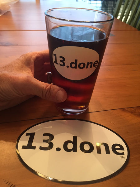 8.) 13.done pint glass - with Ohio & sticker combo