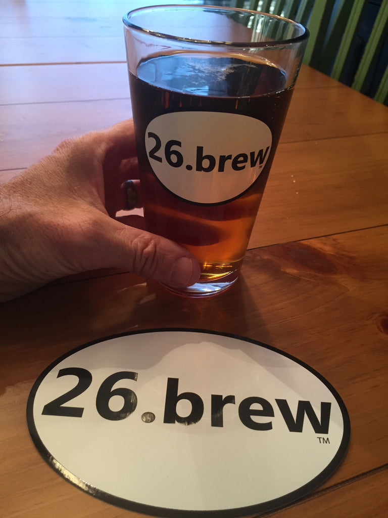 3.) 26.brew pint glass - with Ohio & sticker combo
