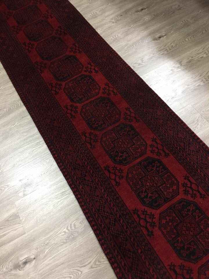 HAND KNOTTED AFGHAN RUG RUNNER 380X70 CM