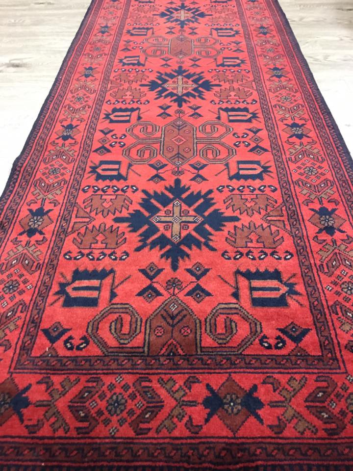 HAND KNOTTED AFGHAN RUG RUNNER 290 X85 CM
