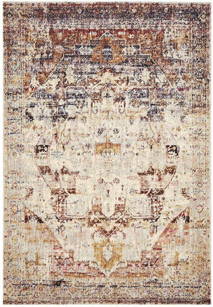 Sharzad Vintage Look Brown Multi Rug