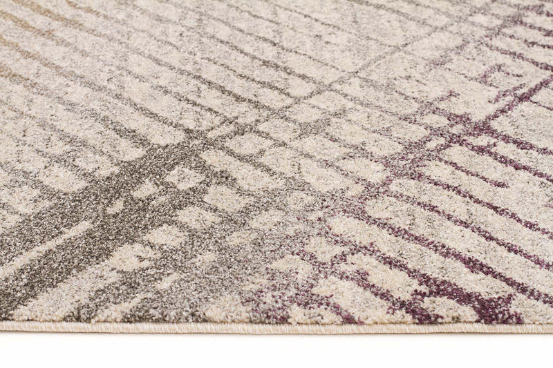 Richie Violet, Grey & Gold Durable Modern Rug