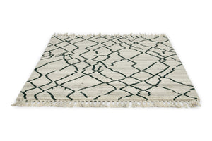 Arabiska Diamant 063101 Moroccan Tassel Rugs in Beige Black by Brink and Campman
