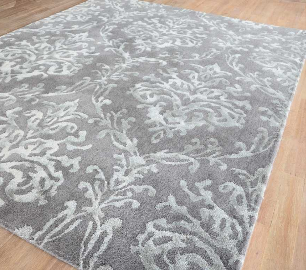Riverside damask rugs 46705 in pewter by sanderson