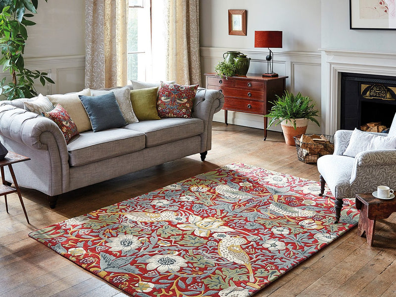 Strawberry Thief Rugs 027700 Crimson by William Morris