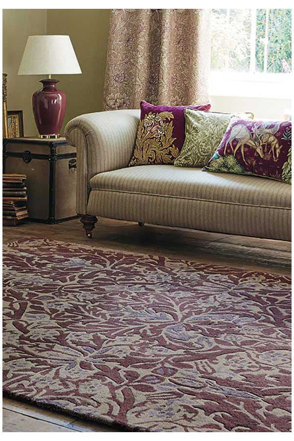 Morris & Co Autumn Flowers Plum 27500 - aladdinrugs - 1