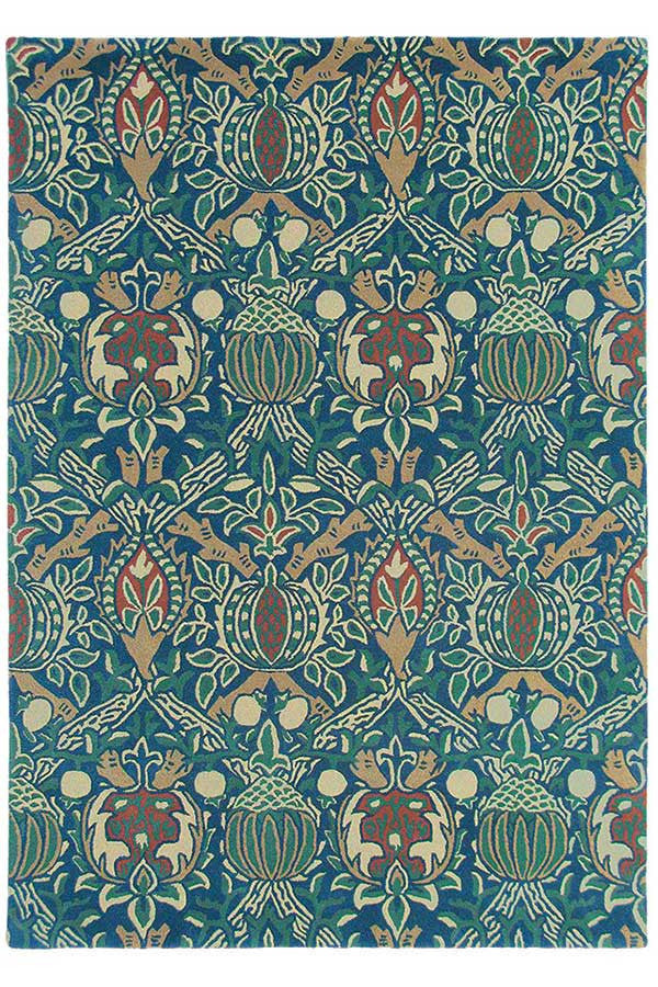 Morris & Co Granada Indigo/Red 27608 - aladdinrugs