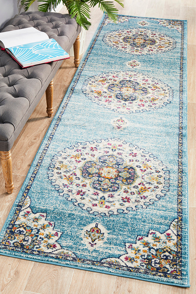Aydin Vintage Look Blue  Runner Rug