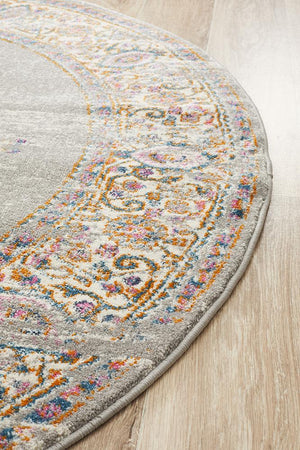Zoltan Vintage Look  Grey  Round Rug