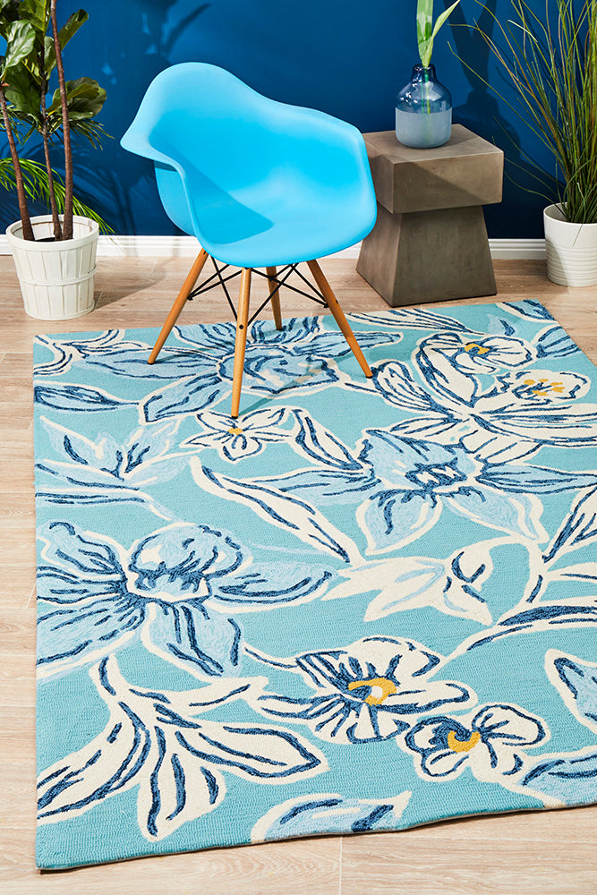 Copacabana Whimsical Blue Floral Indoor Outdoor Rug