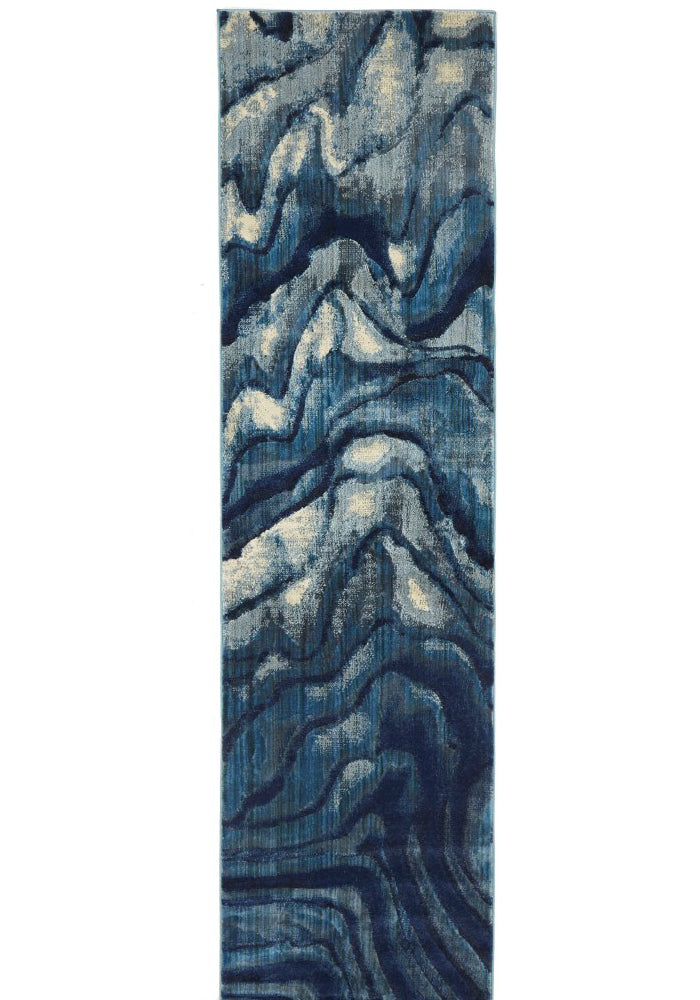 Waves Modern Indigo Runner Rug
