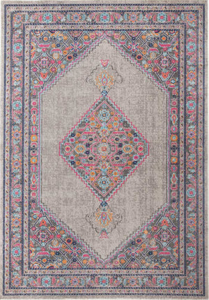 Estera Diamond Vintage-Style Grey Runner Rug