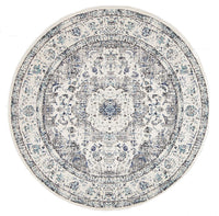 Esme Mist White Transitional Round Rug
