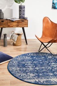 Esme Oasis Navy Transitional Round Rug