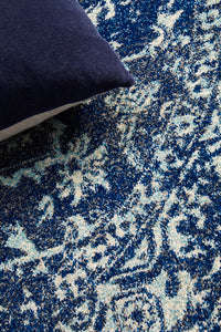 Esme Contrast Navy Transitional Round Rug