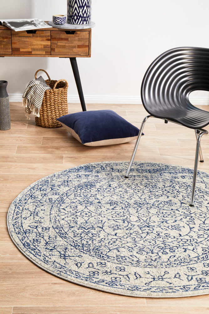 Esme Whisper White Transitional Round Rug