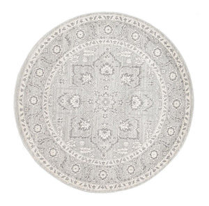 Esme Silver Flower Transitional Round Rug