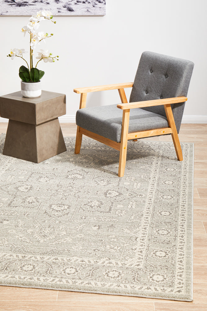 Esme Silver Flower Transitional Rug
