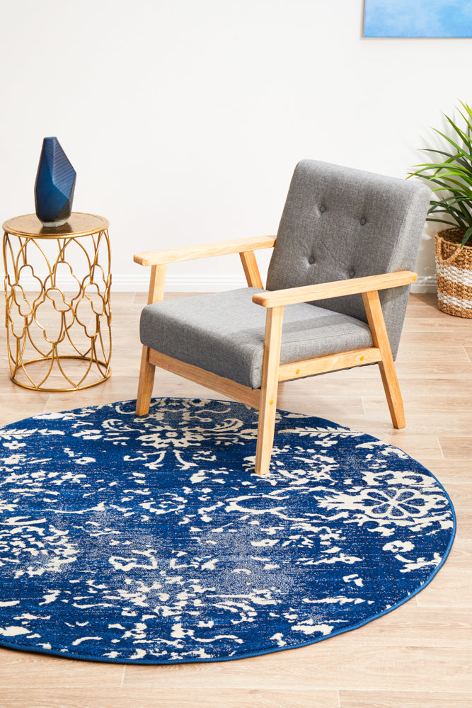 Esme Blossom Navy Transitional Round Rug