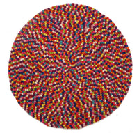 Gumball Felted Wool Unique Textured Ball Design Round Rug Multi - aladdinrugs - 2
