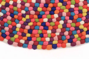 Gumball Felted Wool Unique Textured Ball Design Round Rug Multi - aladdinrugs - 3