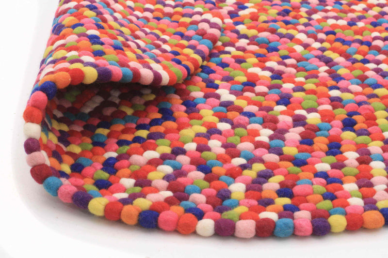 Gumball Felted Wool Unique Textured Ball Design Round Rug Multi - aladdinrugs - 6