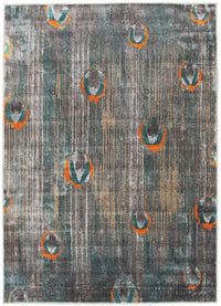 Peacock Feather Austin Rug Grey Blue Rust