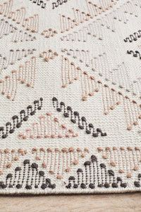 Kyra Hand-loomed Wool Rug white Peach