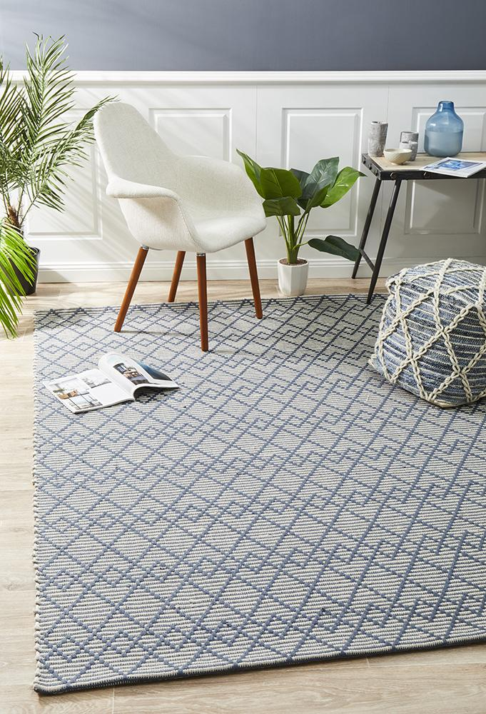 Anika  Hand loomed Wool Rug Denim Bone