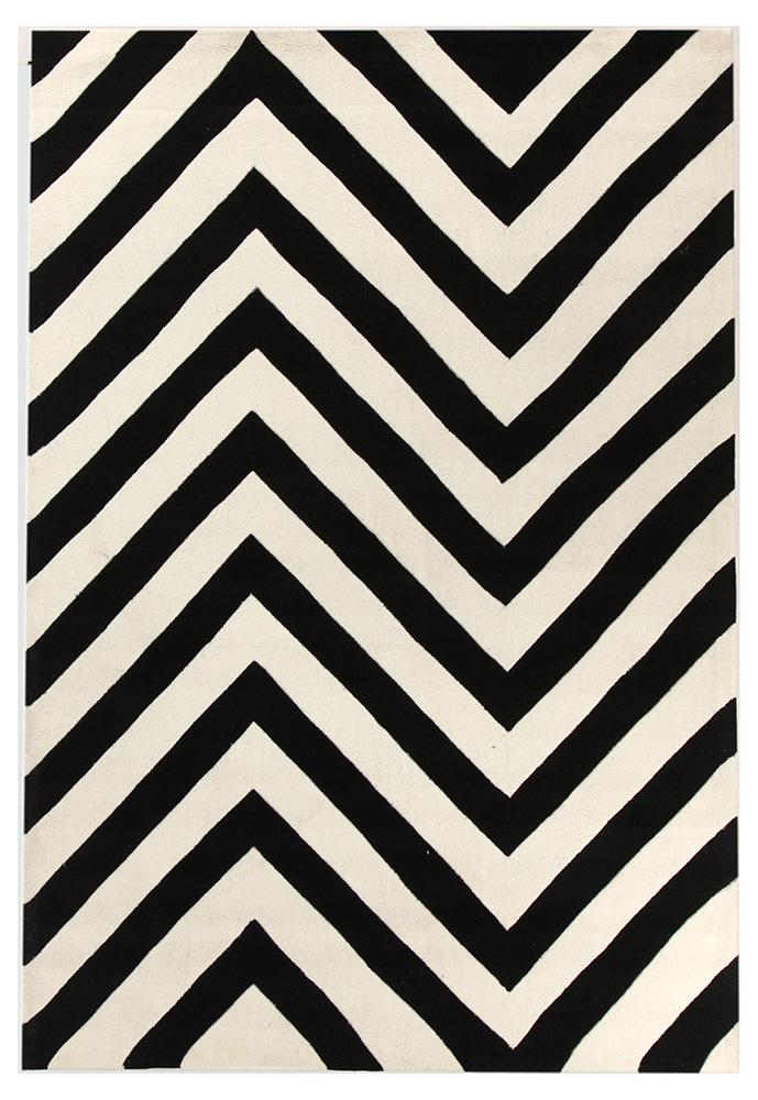 Chevron Black And White Rug 280 X 190 CM
