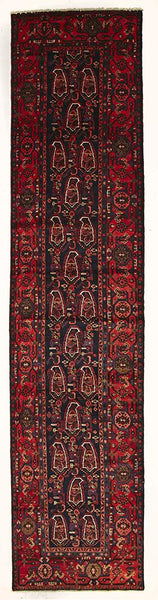 HAND KNOTTED PERSIAN  RUG Red/Navy  520X115 CM ( Runner )