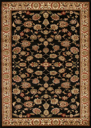 Istanbul Traditional Floral Pattern Rug Black - aladdinrugs - 1