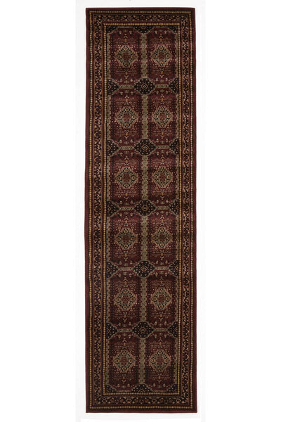 Istanbul Traditional Afghan Design Rug Runner Burgundy Red