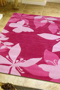 Cute Pink Flower and Butterfly Design Rug - aladdinrugs - 1
