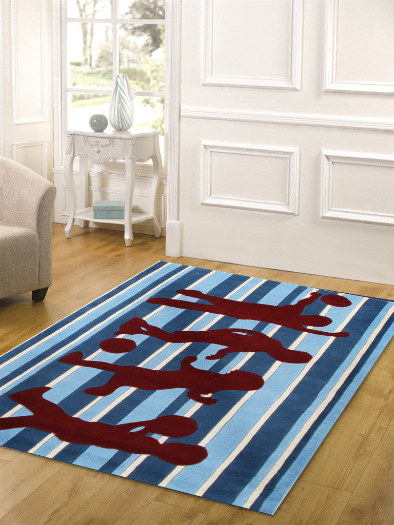 Funky Striped Kids Rug Blue and Burgundy - aladdinrugs - 2