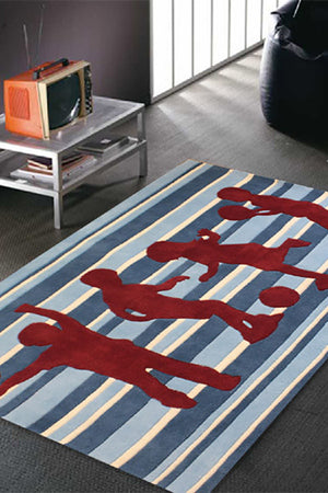 Funky Striped Kids Rug Blue and Burgundy - aladdinrugs - 1