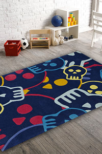 Fun Skulls Rug Blue - aladdinrugs - 1