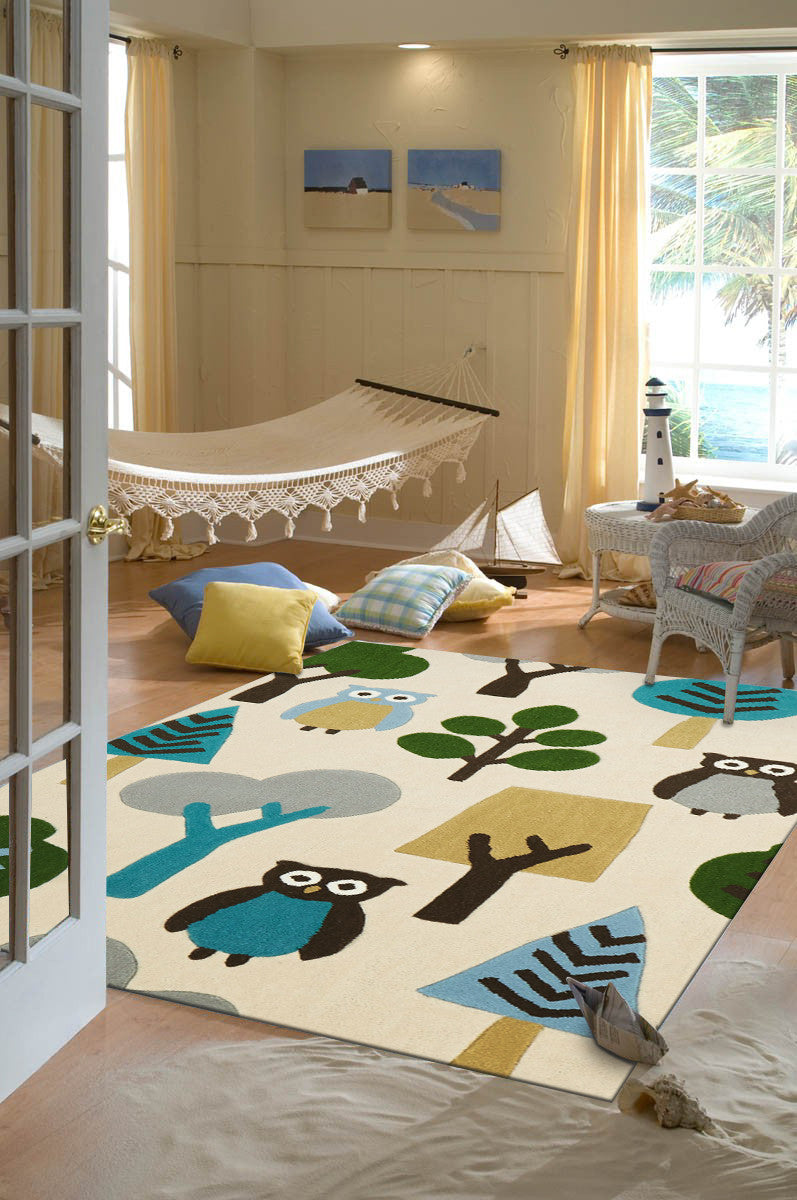 Owl In The Forest Rug Cream - aladdinrugs - 1