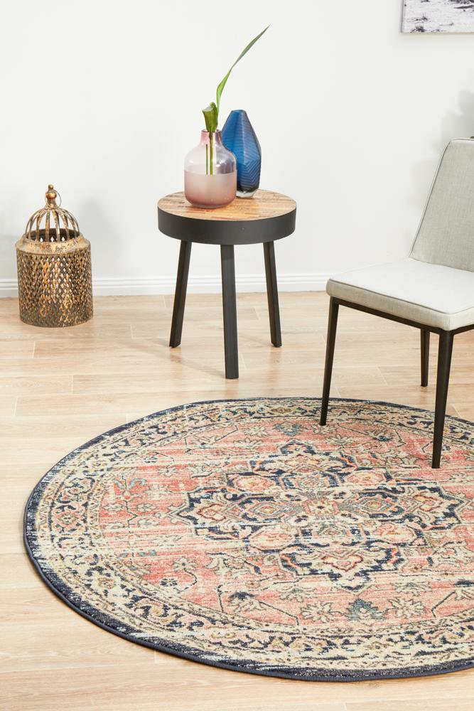 Artin Power Loomed Brick Round Rug