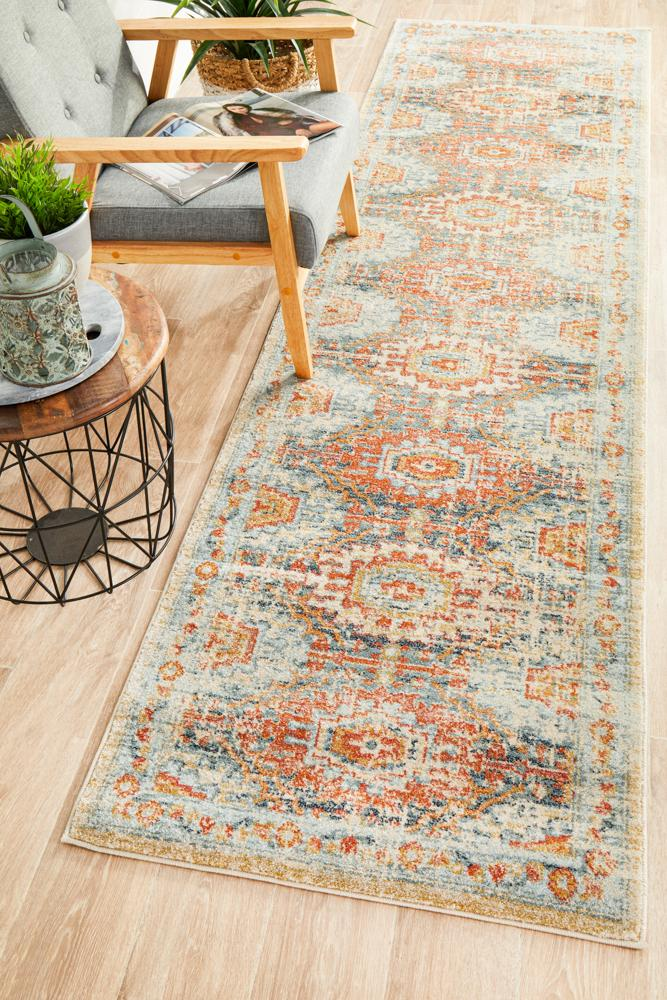 Artin Power Loomed Blue Runner Rug