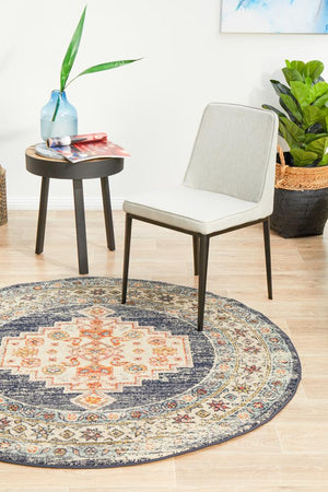 Artin Power Loomed Ecru Round Rug
