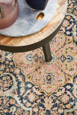 Artin Power Loomed Midnight Round Rug